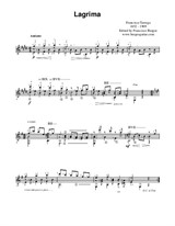 Lagrima for guitar (Music notation) by Francisco Tarrega. Francisco Burgos, guitarist